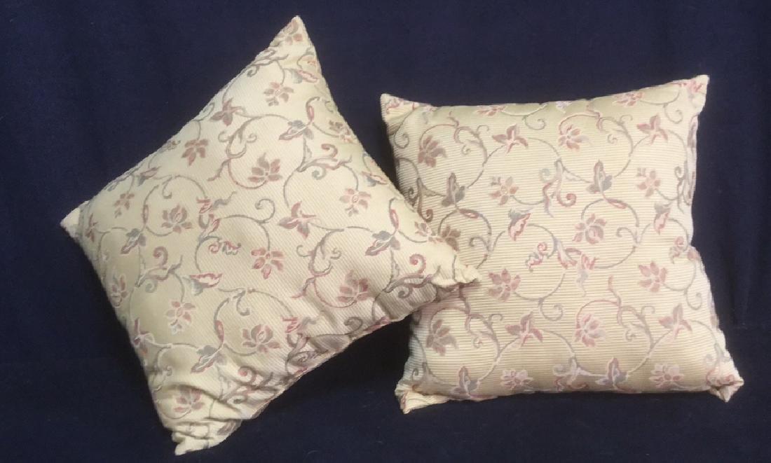 Pair Stripe Textured Embroidered Throw Pillows