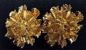 Estate Jewelry Gold Tone Flower Form Earrings