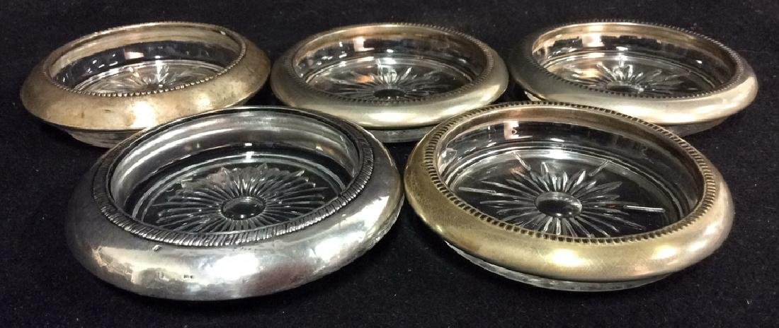 Group 5 Glass Coasters Silver Plate & More
