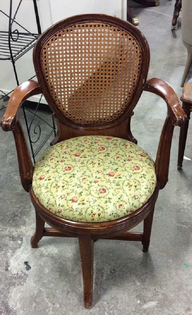 Vintage Caned Back Floral Seat Armchair