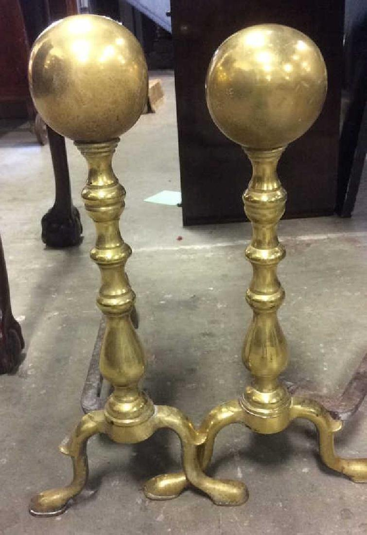 Pair of Orb Topped Brass Andirons