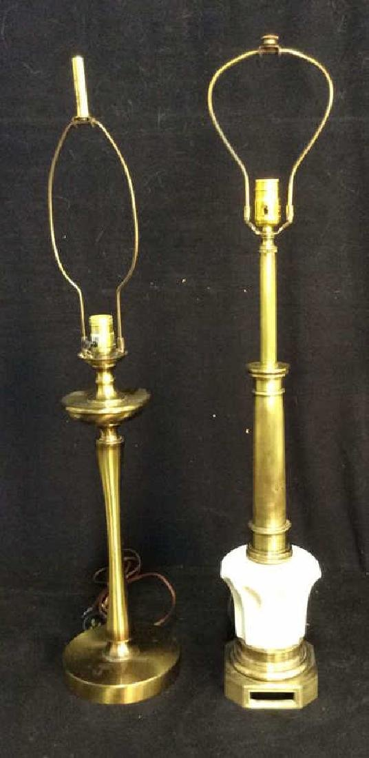 2 Candlestick Style Table Lamps Brass & Brass Tone