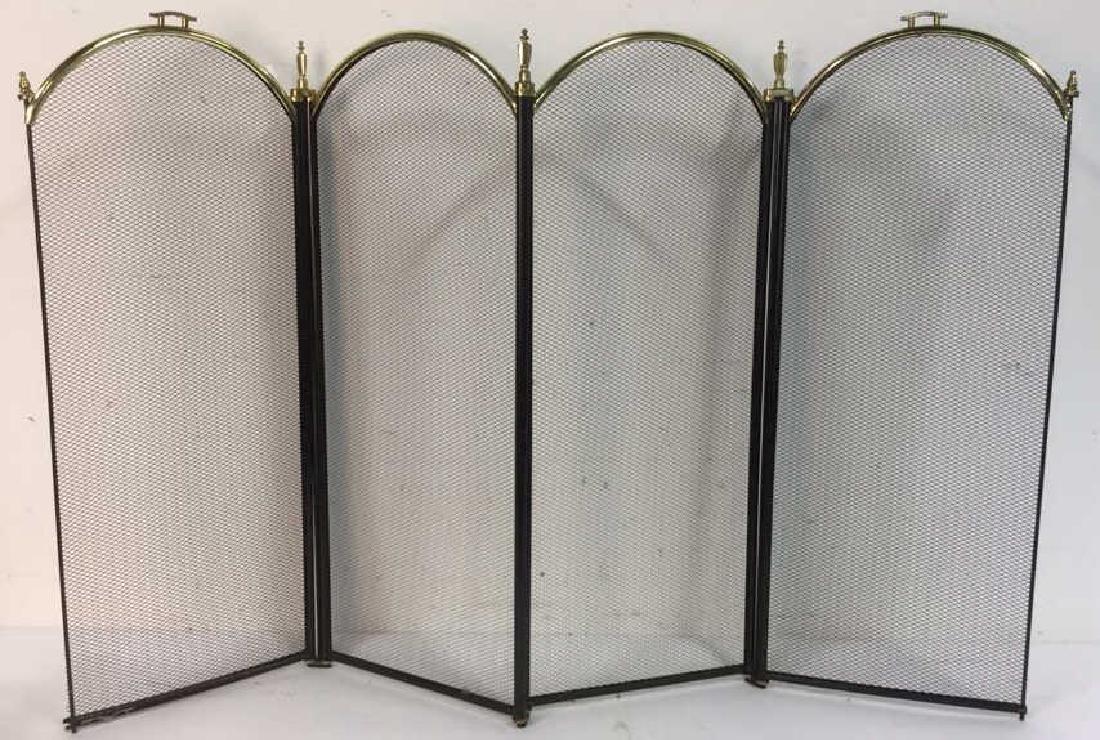 Brass Framed Fireplace Metal Mesh Screen