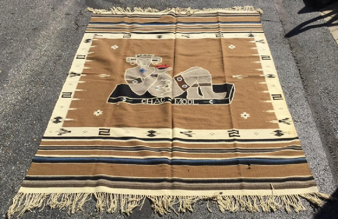 Mexican Style Wool Chacmool Throw Rug