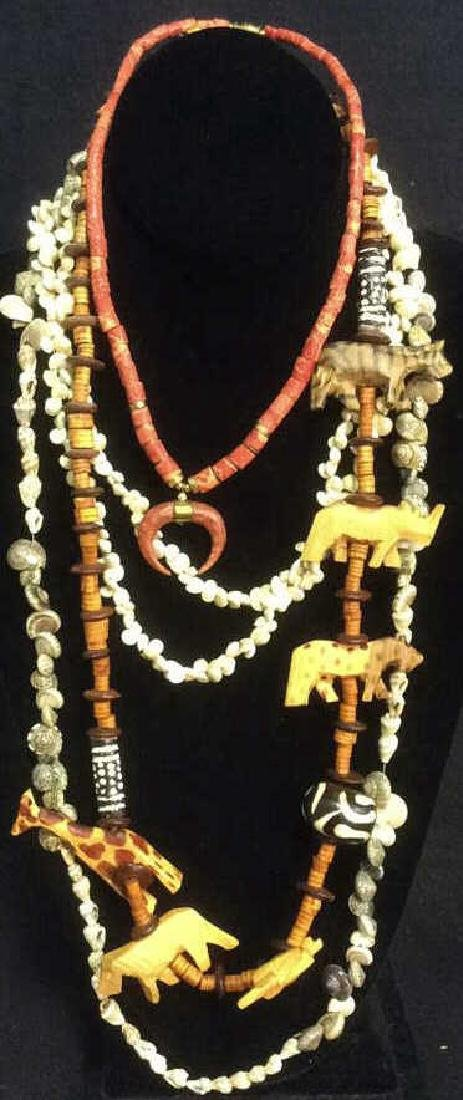 Group of Shell, Wood, Carved, Bead Necklaces