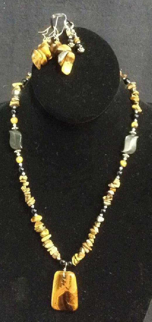 Tigers Eye Tone Stone and Bead Necklace w Earrings