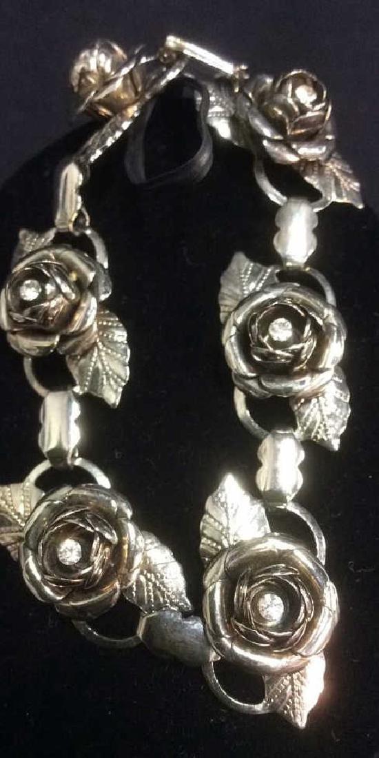 Vintage Silver Toned Rose Bracelet