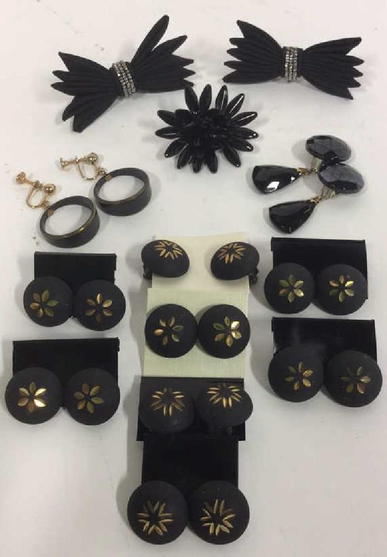 Jewelers Stock Black Toned Earrings Pins