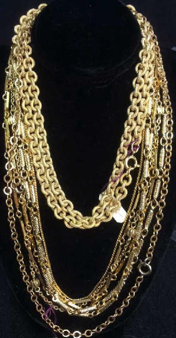 Estate Jewelry 8 Costume Gold Necklaces