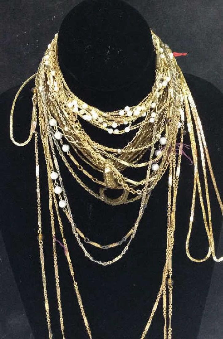 Lot Gold Toned Chain, Bead, Crystal Necklaces