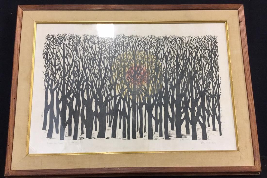 Signed 'Woods on Trees' Ink Print Framed