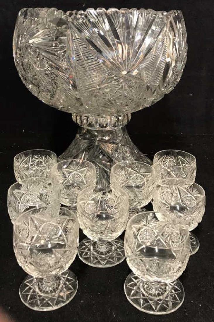 Brilliant Cut Crystal Punch Bowl and 9 Cups