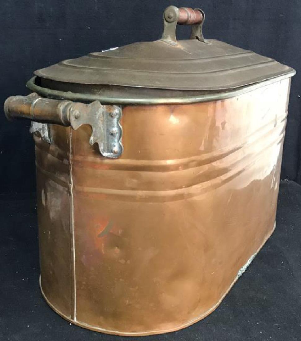 Antique Copper Lidded Storage Bin