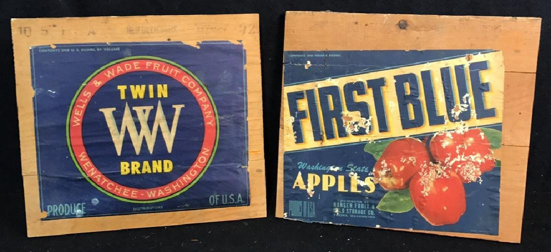 2 Vintage Collectible Shipped Fruit Logos on Wood