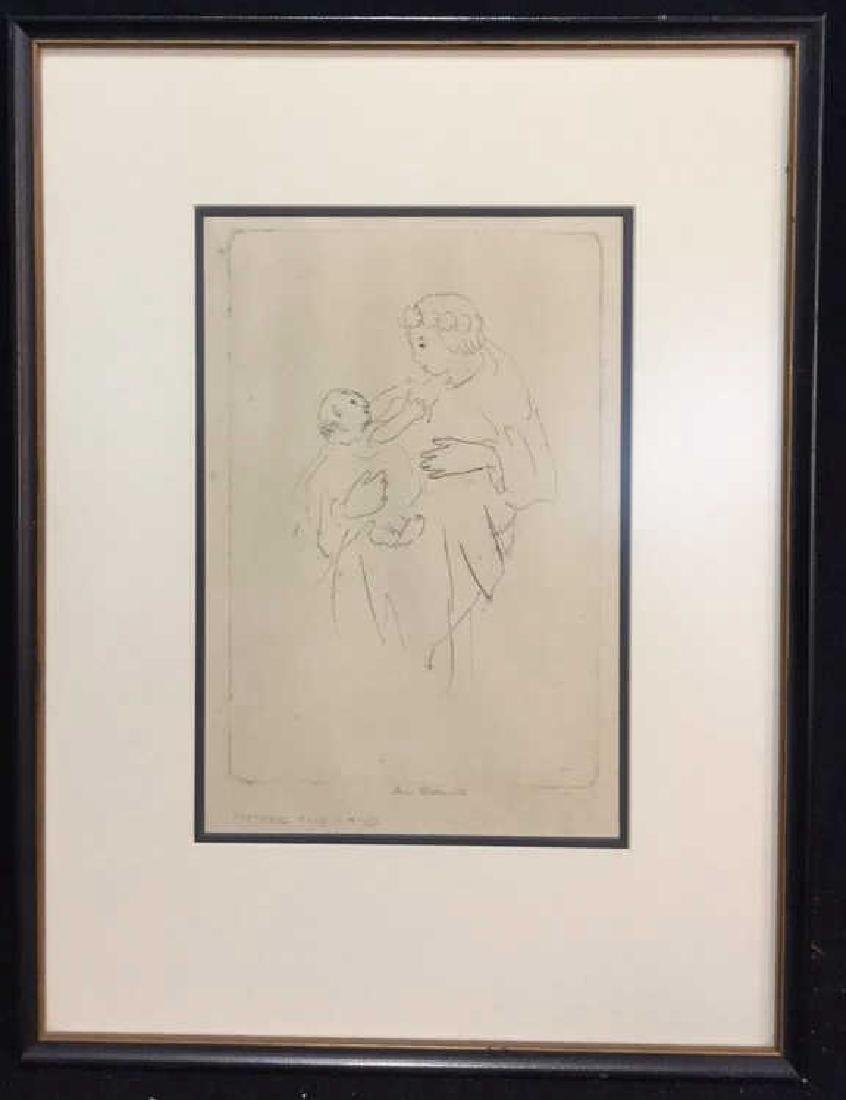 Signed 'Mother and Child' Original Drawing Framed