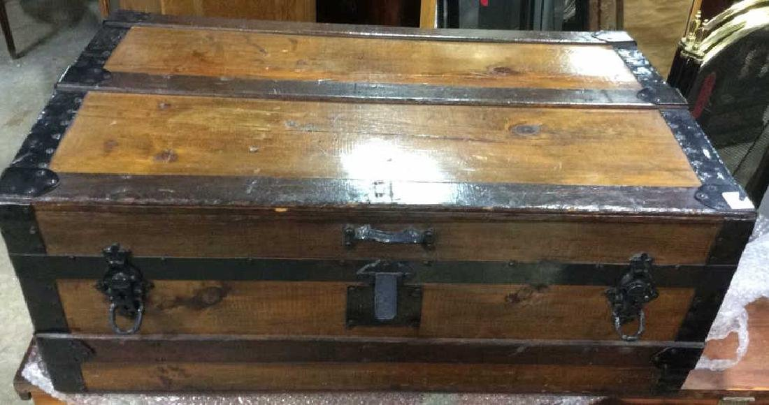 Antique Wood Metal Trunk Storage