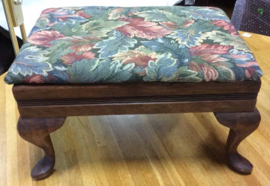 Antique Carved Foot Stool upholstered Top