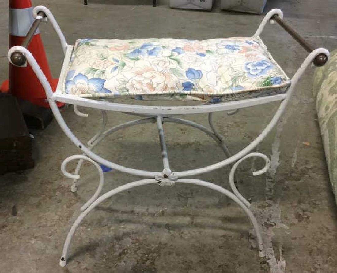 Painted White Iron Scrolled Bench