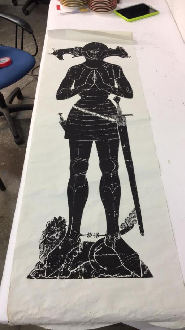 Medieval Style Warrior Scroll Print