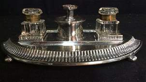 Vintage Silver Plate and Inkwell Tray Desk Set