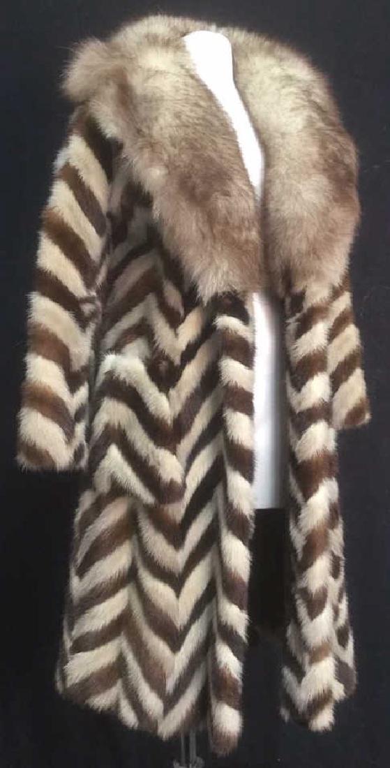 REVILLON BOUTIQUE Paris Chevron Pattern Mink Coat