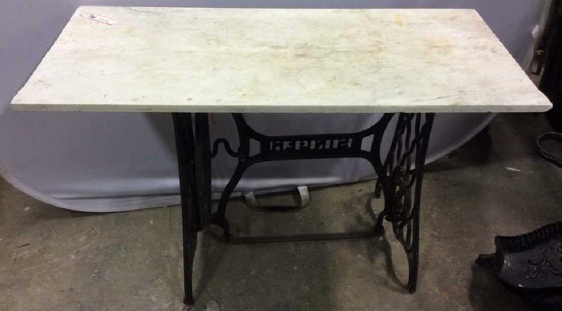 Antique Marble Topped Iron Singer Sewing Base