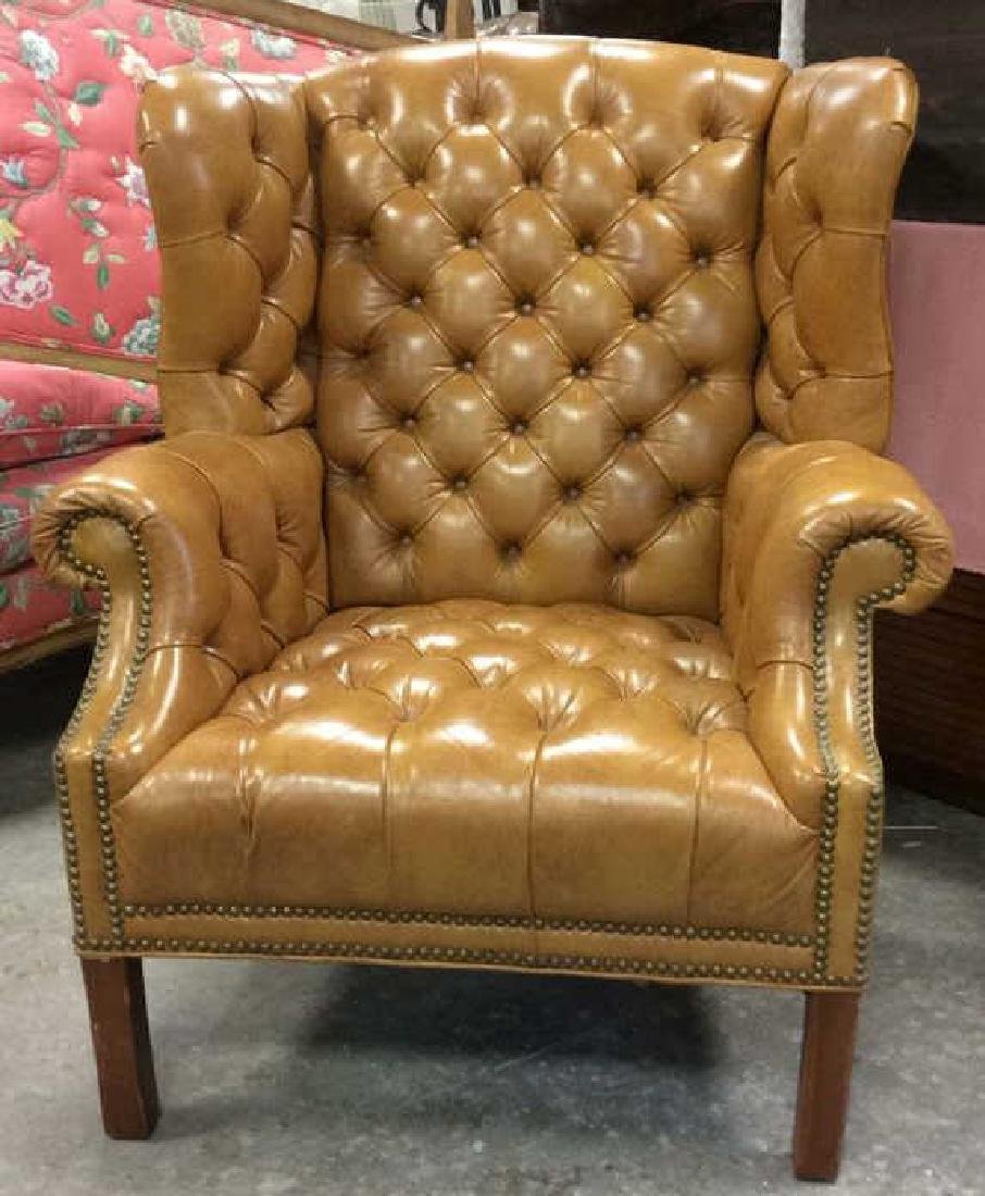 Tufted Carmel Leather Wing Chair