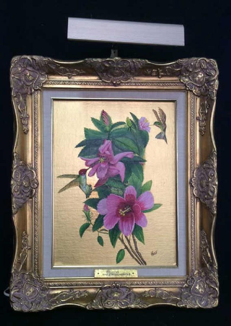 HAAS, Hibiscus and Humminbirds ornately Framed