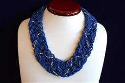 """17"""" Blue Hand Beaded Necklace w Cubic Zirconia"""