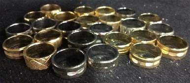 25 Group Lot Vintage Gold Silver Toned Rings