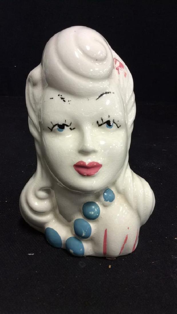 3 Vintage Lady Head Vases - 6