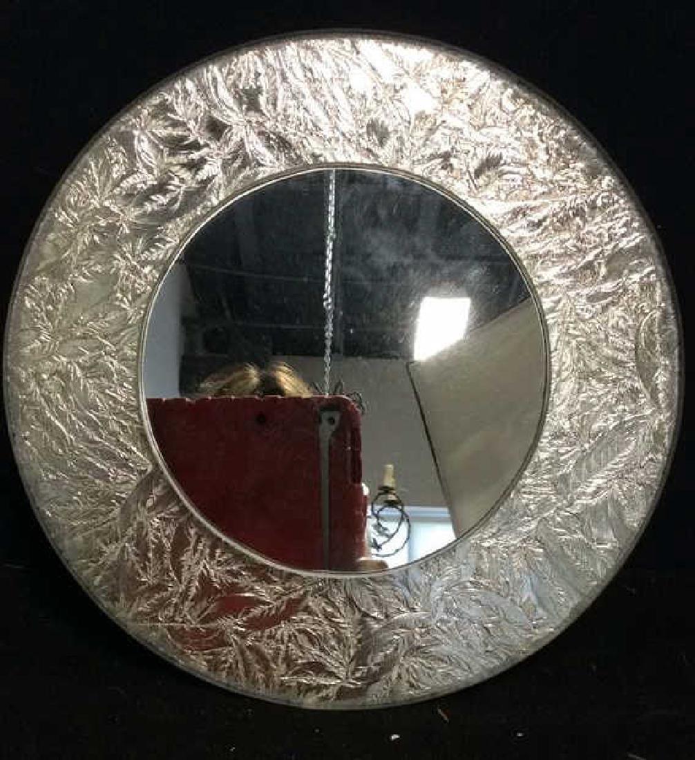Silver Leafed Round Mirror