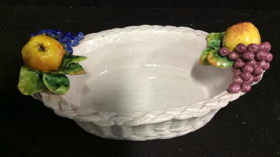 Trompe L'Oueil Ceramic Fruit Basket - 2