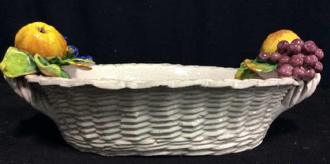 Trompe L'Oueil Ceramic Fruit Basket - 3