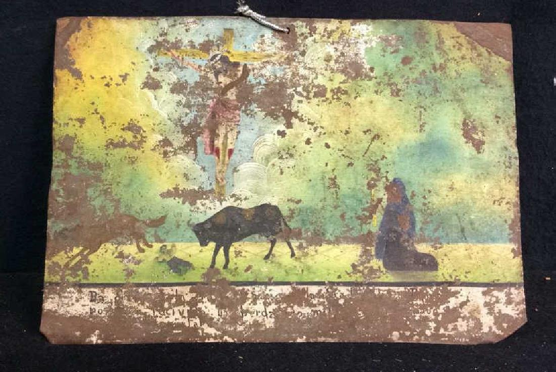 Painted Religious Art Work on Found Metal