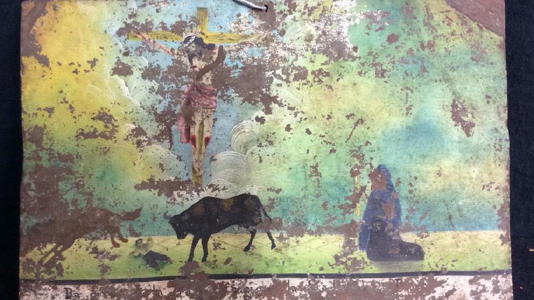 Painted Religious Art Work on Found Metal - 2