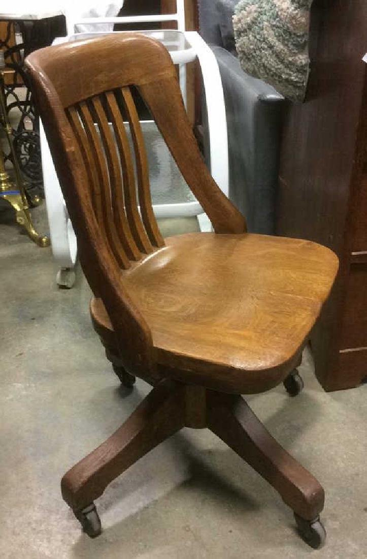 Antique Oak Swivel Chair - 2