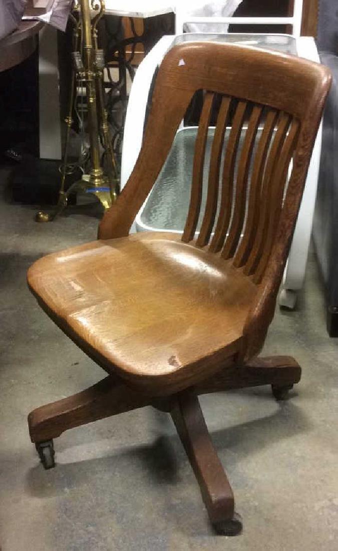 Antique Oak Swivel Chair - 4