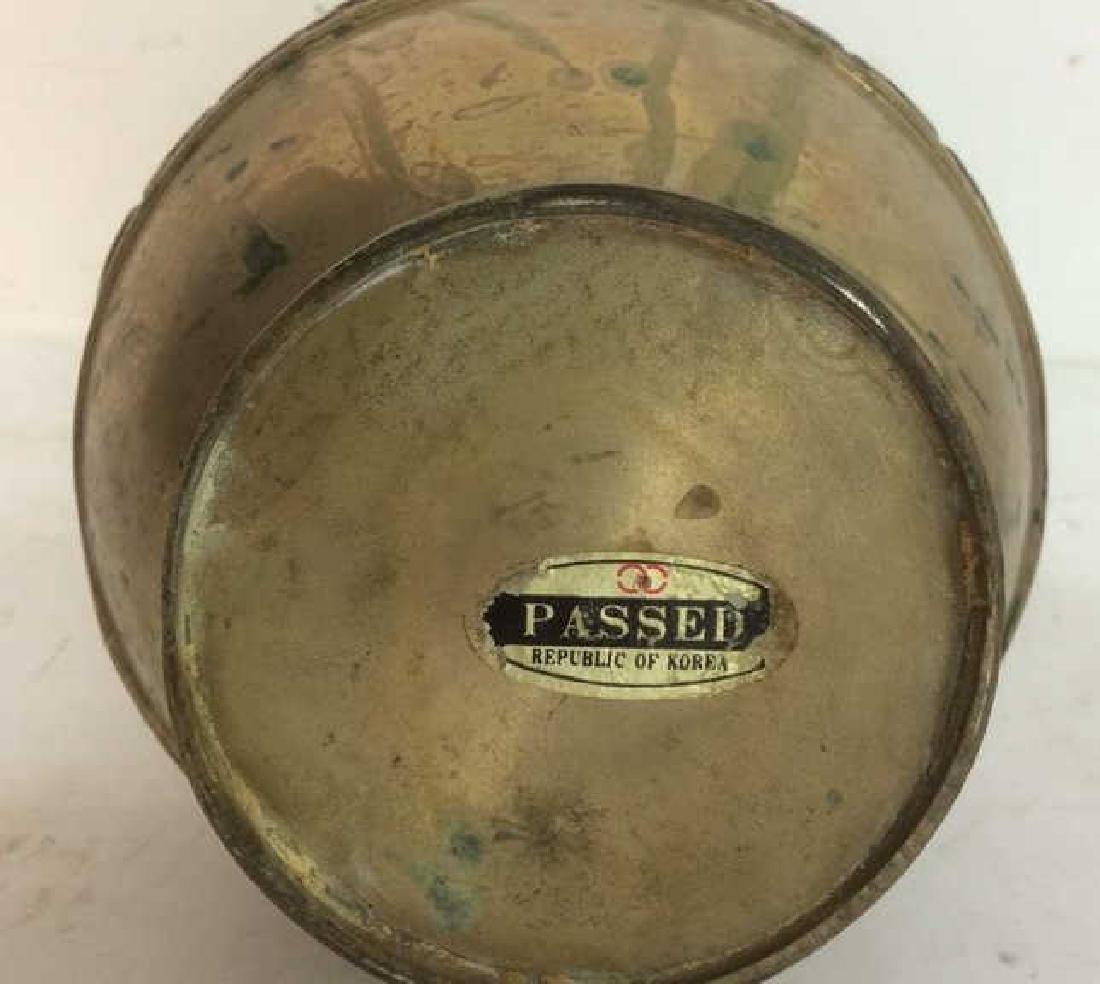 Korean Brass Etched Forged Vase - 10