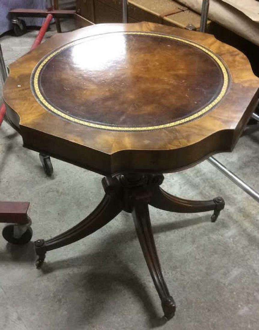 Leather Topped Wood Pedestal Table
