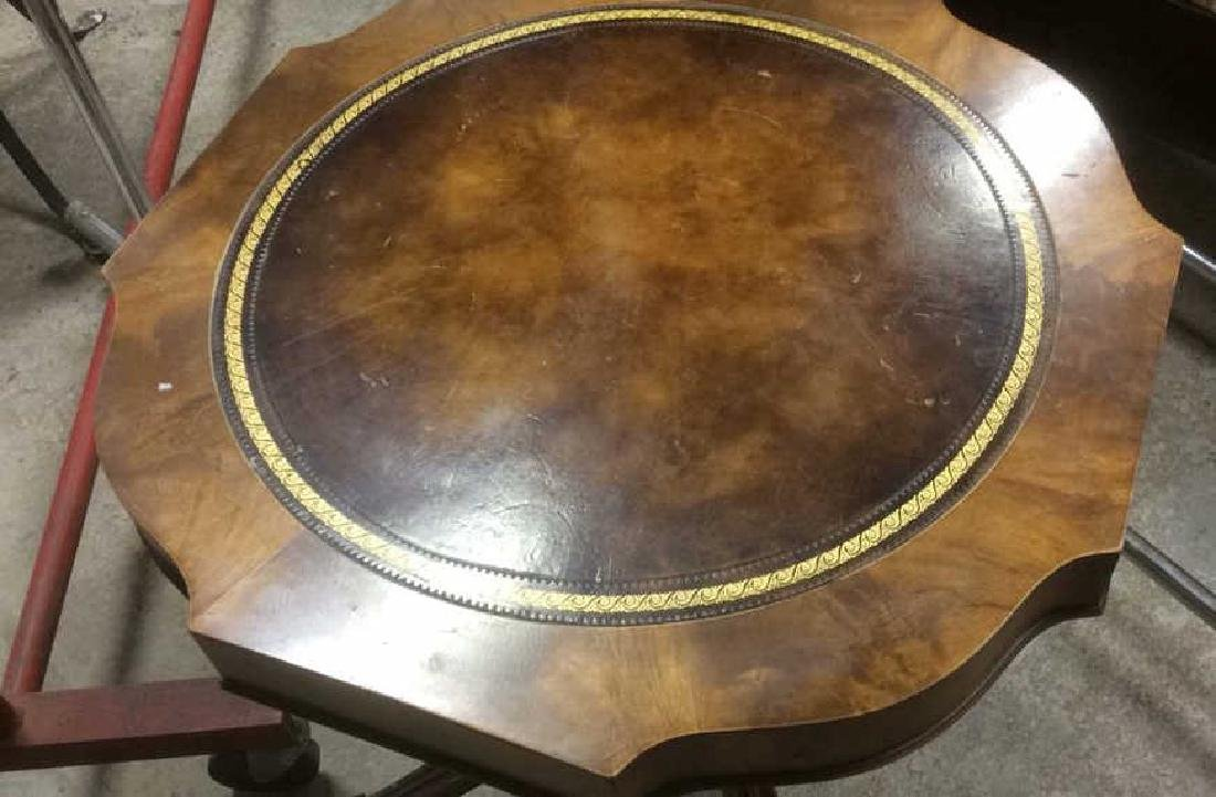 Leather Topped Wood Pedestal Table - 2