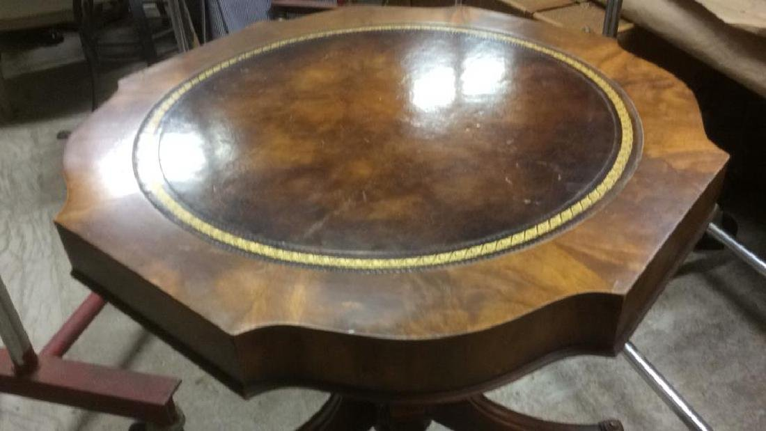 Leather Topped Wood Pedestal Table - 3