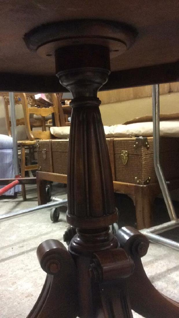 Leather Topped Wood Pedestal Table - 7
