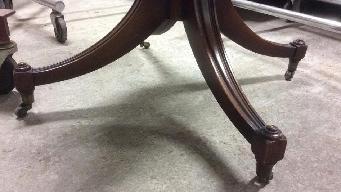 Leather Topped Wood Pedestal Table - 8