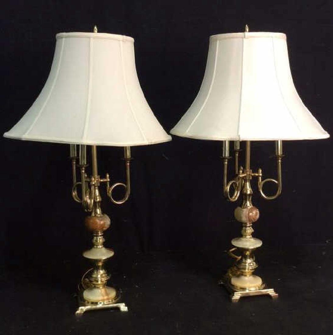 Pair Gold Toned & Faux Marble Lamps