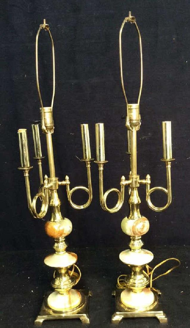 Pair Gold Toned & Faux Marble Lamps - 2