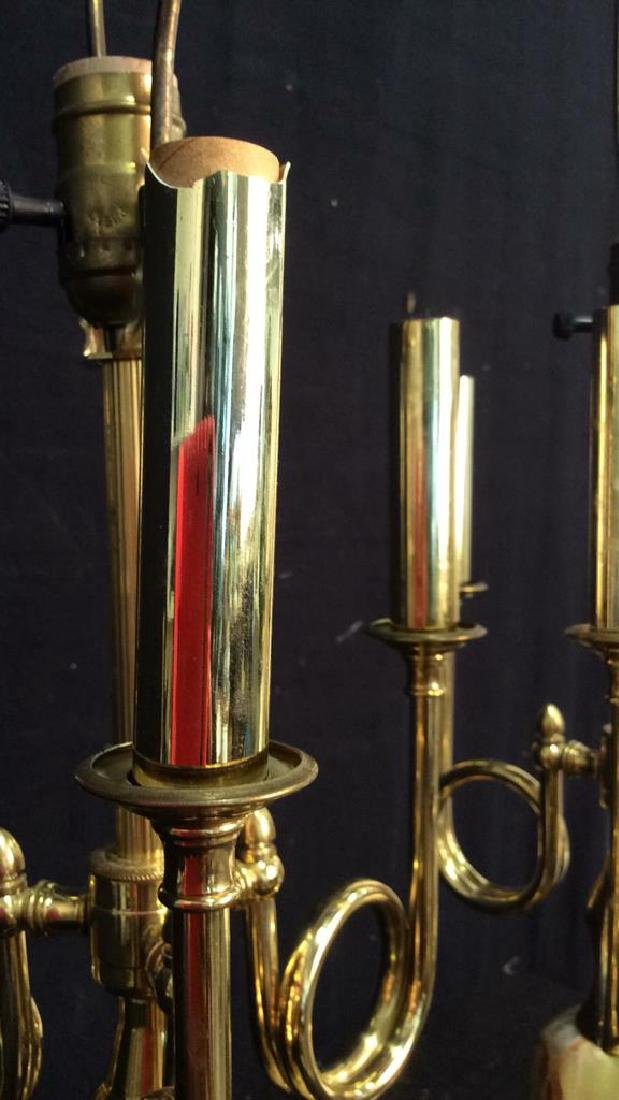 Pair Gold Toned & Faux Marble Lamps - 4