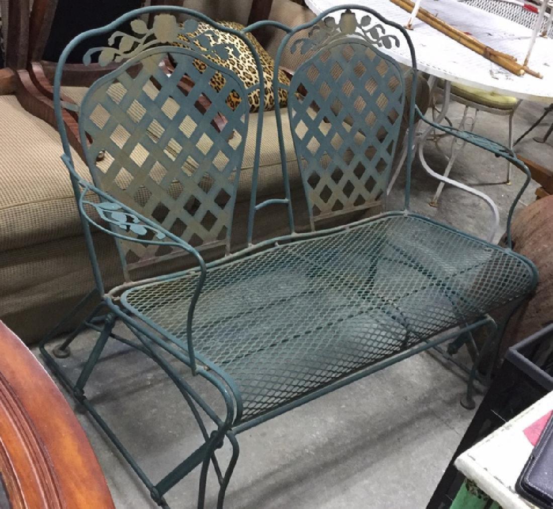 Vintage Outdoor Iron Love Seat Glider