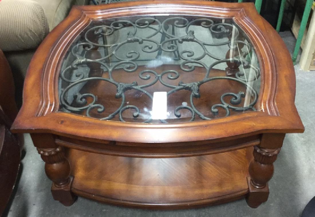 Wood Metal and Glass Coffee Table