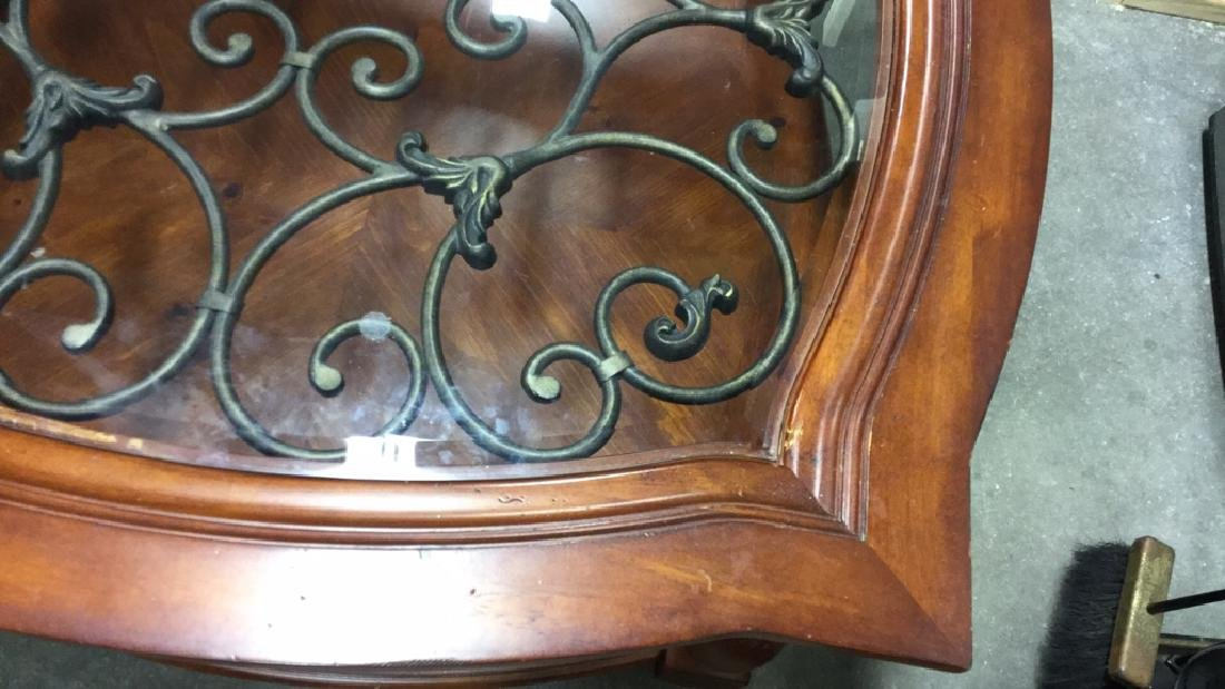 Wood Metal and Glass Coffee Table - 3